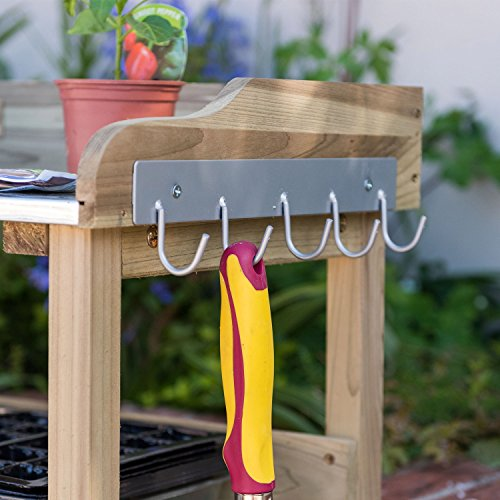 Has two storage shelves and 5 hanging hooks for hand garden tools.