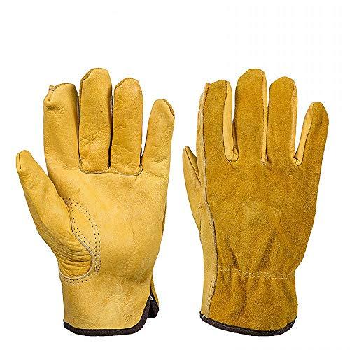 JZK Resistenti guanti da giardinaggio anti spine in pelle uomo, XL guanti da lavoro in pelle gialli,...