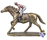 Natural World Collection Bronze Race Horse and Jockey Front Leg Up Ornament Figurine Horse Racing Figure