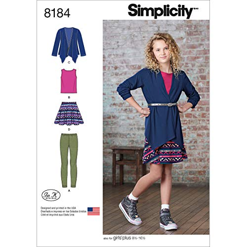 Simplicity 8184 Girls' and Girls' Plus Skirt and Knit Top, Cardigan and Leggings, AA (8-10-12-14-16)