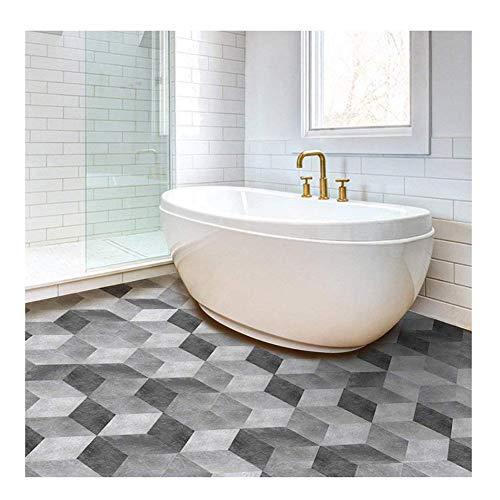 APSOONSELL Piastrelle Adesive Pavimento Esagonale-Shaped PVC geometrico grigio Impermeabile...
