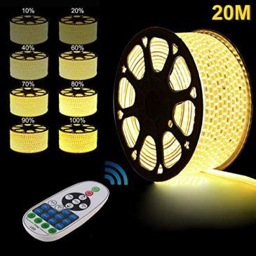 GreenSun LED Lighting Flexible Ruban à LED, 20m-100m LED Strip Light avec RF télécommande 24 touches, étanche IP7 LED Bande lumière Pour Les Jardins, Maisons, Cuisine, Fête de Noël
