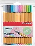 STABILO punto 88–Confezione di pennarelli punta fine -Fluorescenti Coloris pastel