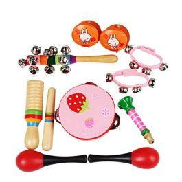 Winni43Julian Kit Strumenti Musicali per Bambini 10 Pezzi Percussioni Strumenti Musicali in Legno Mu
