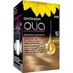 Garnier Olia Colorazione Permanente senza Ammoniaca, Migliora la Qualità dei Capelli, Copre i Capelli Bianchi, 8.0 Biondo Chiaro