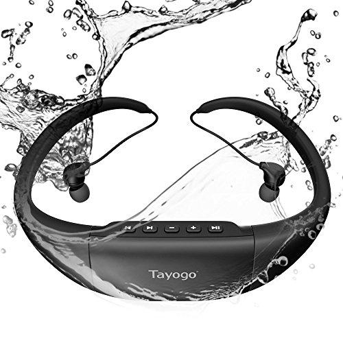Tayoto IPX8 - Reproductor de MP3 para natación y radio FM (8 GB, resistente al calor, 3 m), color negro