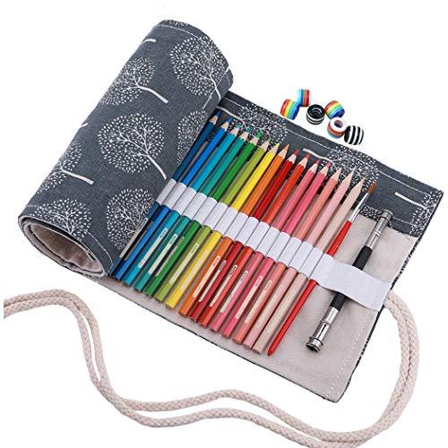 Amoyie - Sacchetto della matita portamatite arrorolabile per 36 matite colorate porta penne tela...