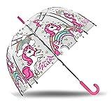 Desconocido Kids Paraguas Transparente Campana 48cm Manual de Unicornios Paraguas Clásico, 80 cm, Multicolor