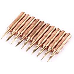 10 piezas 900M-T-I Tipo Cobre Puro sin Plomo Reemplazable Solder Iron Tips Set Estación de Soldadura a Baja Temperatura Herramienta Forma I