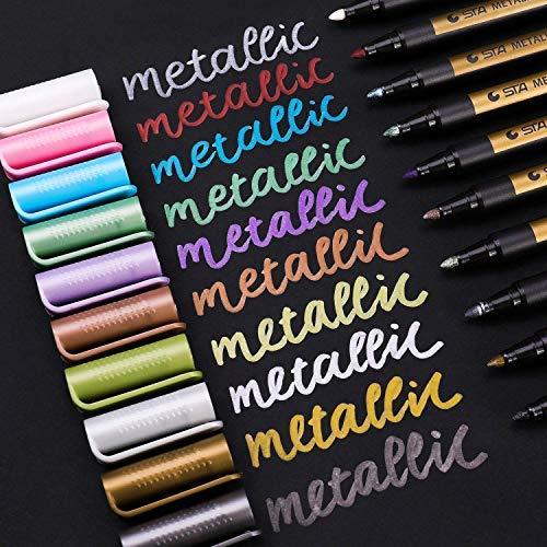 NEWROAD Metallischen Stift Marker, Satz von 10 Farben