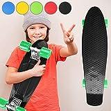 """Physionics Penny Skateboard   22"""" (57cm), Rodamientos ABEC 5, Color a Elegir, Máx. 100kg   Monopatín Retro, Skateboard Retro, Cruiser Retro - Negro"""