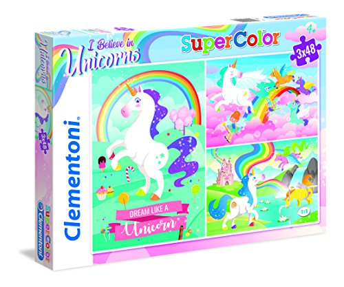 Clementoni-Clementoni-25231-Supercolor-Unicorno Brilliant-3 x 48 pièces Puzzle Unicorno-3x48 Pezzi,...