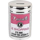 Wahou 36-2Q-006 Tirelire Boîte de conserve J'arrête le shopping Gris chrome et rose Céramique