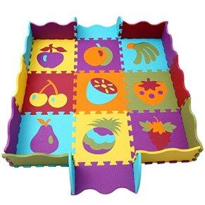qqpp Alfombra Puzzle para Niños Bebe Infantil - Suelo de Goma EVA Suave. 9 Piezas (30*30*1cm), 16 Piezas de Valla, Fruta. QQP-06b9F16