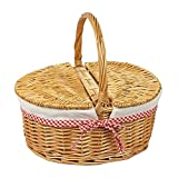 Woodluv Oval Natural Willow Wicker Picnic Hamper Shopping Storage Basket W/Handle - 39.5cm x 30cm x 37.5(H) cm