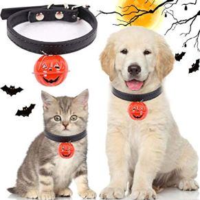 KENANLAN Collar de Halloween para Mascotas, Correa Ajustable para Perro con Campanilla de Calabaza para Halloween, Collar para Gato al Aire Libre S 22-27 cm