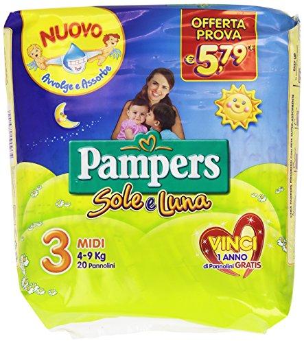 Pampers Sole e Luna Pannolini Midi, Taglia 3 (4-9 kg), 1 Pacco da 20 Pezzi