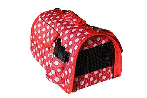 BPS (R) Portador Transportín Bolsa Bolso de tela (Lunares) para Perro o Gato, Mascotas, Animales, Tamaño: L, 51 x 26 x 29 cm. (Rojo)