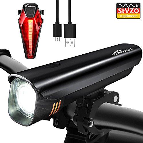 Toptrek Fahrradlicht StVZO Zugelassen LED Fahrradbeleuchtung Fahrradlichter Set (Frontlichter + Rücklicht) USB Wiederaufladbare Samsung Li-ion Batterie/CREE LED Wasserdicht IPX4 Fahrradlampe (Schwarz)