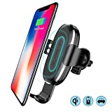 Baseus Caricatore Wireless Auto, Caricatore Wireless Veloce per Auto, Supporto 360° Girevole con Base di Carica per iPhone X / 8/8 Plus,Samsung Galaxy 8/ S8 / S8 Plus/Bordo S7 / S7/ Note 8/ Note 5