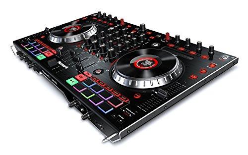 Numark NS6II Console da DJ Professionale a 4 Canali con Due Porte USB per 2 PC, Mixer Ibrido Audio/MIDI, Wheel Capacitive da 6' con Display LED Integrati