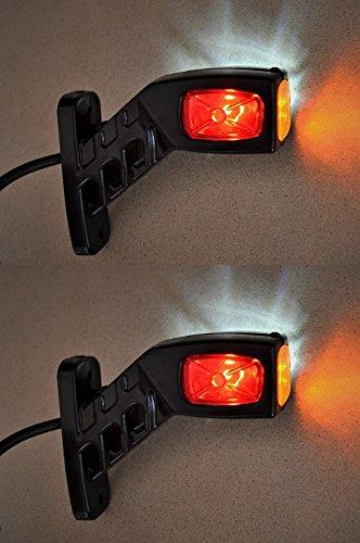 2luci LED da 12V/24V per luci di posizione laterale, per camion, rimorchio, carrozzeria, cassone ribaltabile, color rosso, bianco, arancione
