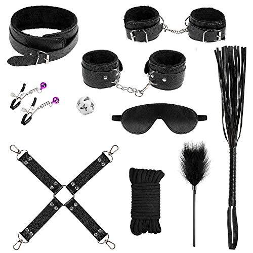 Maksexy Bondage Set Plüsch Leder Perfekt für Anfänger und Liebespaar Spielzeug 11 Stück mit 10M Baumwollseil schwarz