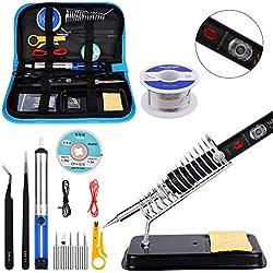 Kit del Soldador, Ockered 60W Kit Soldador Eléctrica con 5 Puntas, Temperatura Ajustable 200℃~480℃, Con interruptor ON/OFF para diversos mantenimientos de electrodomésticos