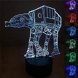 SmartEra® 7 tipi di colori cambiamento, 3D Optical Illusion Star Wars serie AT-AT imperiale Walker Modello pulsante tattile USB Desk LED Luce / lampada da tavolo