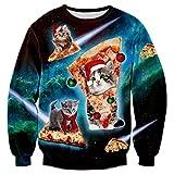 Rave on Friday Xmas Pullover Ugly Christmas Navidad Sudadera 3D Impreso Gracioso Cat y Pizza Cool Gráfico Sweatshirt S
