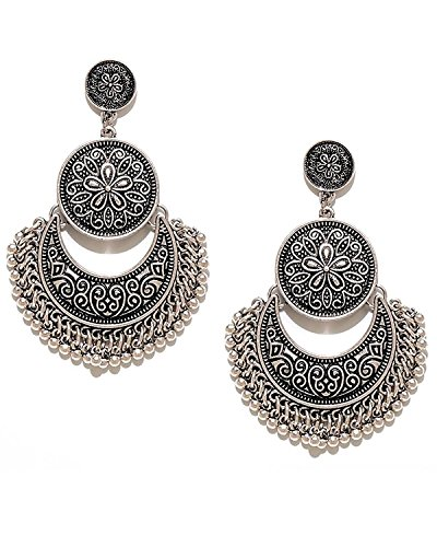 YouBella Silver Plated Drop Earrings for Women (Silver)(YBEAR_31772A)