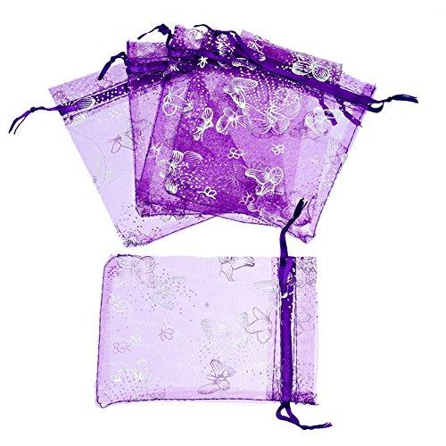 zalago 9cmx12cm Lila Traumhandel Säckli regalo bolsa boda Bolsa mariposa, 50unidades