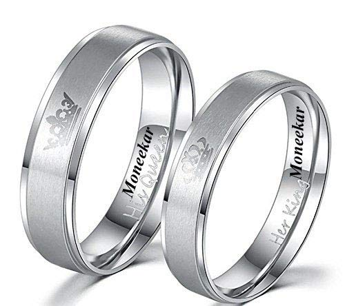 Moneekar Jewels Titanium and Stainless Steel Rings for Men and Women (Silver)