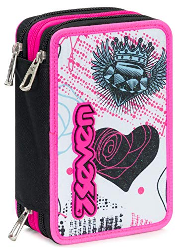 Astuccio 3 Zip Seven Shiny Girl, Bianco, Con materiale scolastico: 18 pennarelli Giotto Turbo Color,...