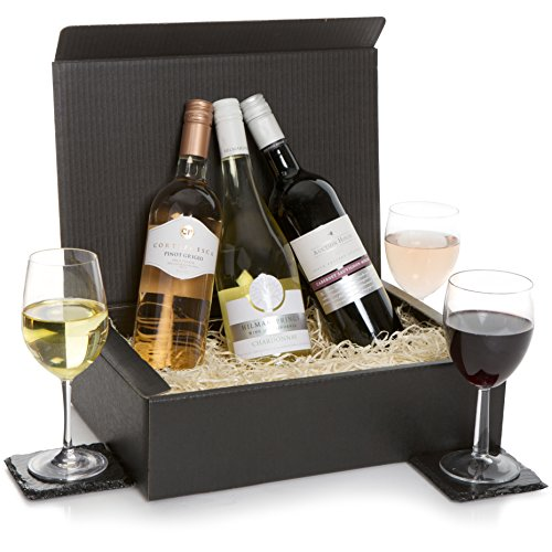 Wine Hamper - Classic Wine Selection Hamper - Trio Wine Gift - Three Wines, Red Wine, White & Rose Wines In Luxury Gift Box