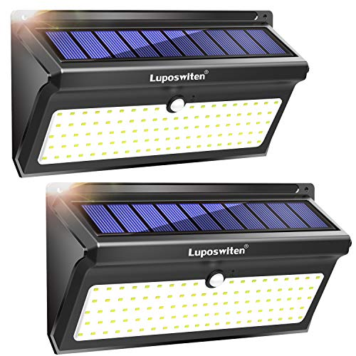 Luci Solari da Esterno 100 LED, Luposwiten 2000 LM Lampade Solari Led da Esterno, 125°Luce Solare...
