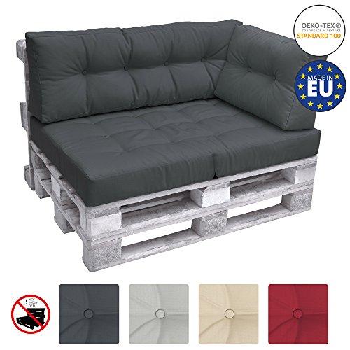 Beautissu Cuscino Laterale per Divano di Pallet Eco Elements 60x40x10-20cm - per divani con bancali...