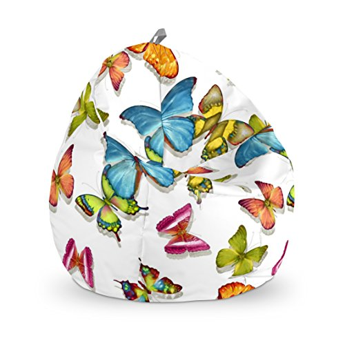 Happers Junior Puff Mariposas, Tela, Multicolor, 70x70x70 cm