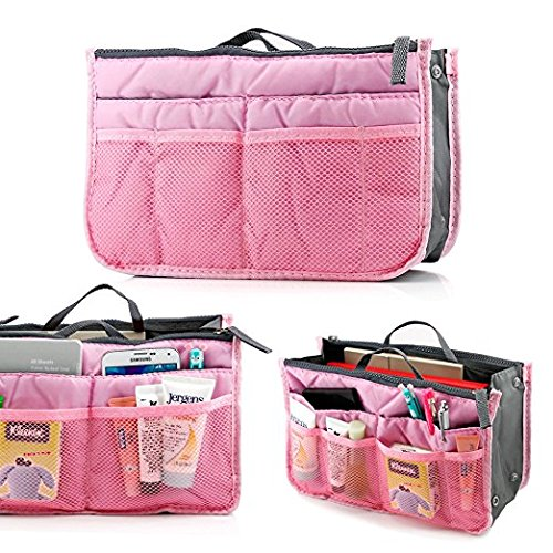 PETRICE Women's Silk Multipocket Cosmetic Handbag Organizer, Assorted Colour