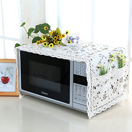 Generic AJ, 105x33cm : Pastoral Fresh Style Linen-Cotton Microwave Oven Cover with 2 Side Storage Pouch Stereo Organization Bag for Kitchen Accessories