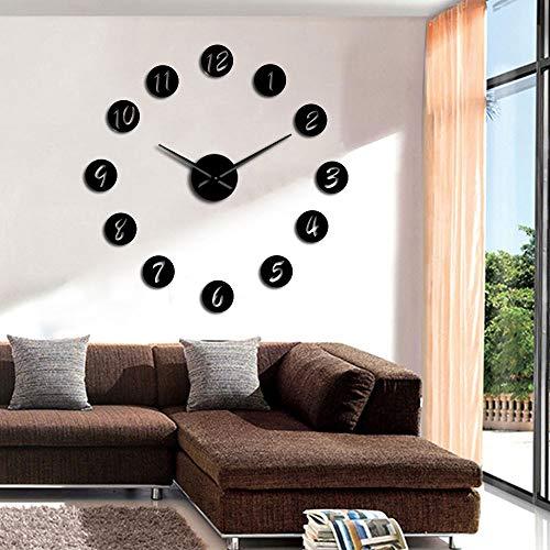 ZYQXI Reloj Pared DIY Reloj de Pared DIY Grande Reloj de Pared silencioso 3D Moderno Reloj con números de Espejo Pegatinas de acrílico para Decoraciones de Oficina en casa Regalo-37inch Negro