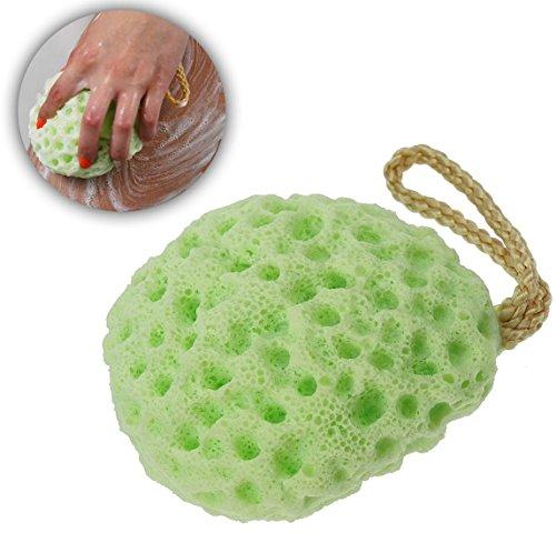 Badeschwamm grün, Super Schaum, Kosmetex Schwamm zum Einseifen, und für leichte Körpermassage der Haut, 1 Stück, Grün