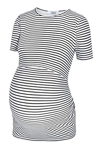 HAPPY MAMA. Mujer Top Camiseta Premamá Lactancia Cuello Redondo Doble Capa. 116p (Negro & Rayas Blancas, EU 36, S)