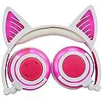 Cuffie Bluetooth Senza Fili, LIMSON Cuffia Pieghevole con Microfono, Auricolare Cat Ear con Luce a LED Lampeggiante BTR107 (Rosa)