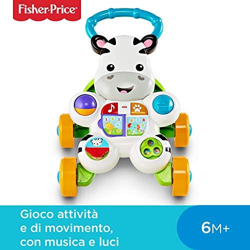 Fisher Price Zebra Primi Passi Spingibile, Giocattolo Elettronico Educativo con Musica e Suoni, per...