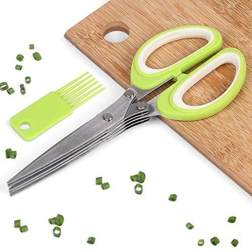 Tijeras de hierbas con 5 cuchillas, tijeras de cocina multiusos de acero inoxidable con cepillo de limpieza, gran utensilios de cocina para picar cebolla verde y especias