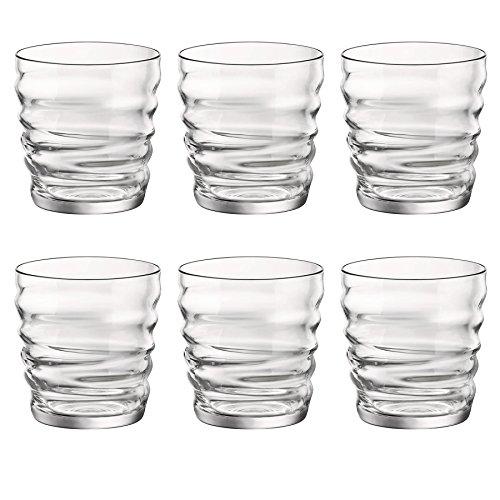 Bicchieri bere Bormioli Rocco Riflessi di vetro trasparente decorativo - 300ml - Confezione da 6