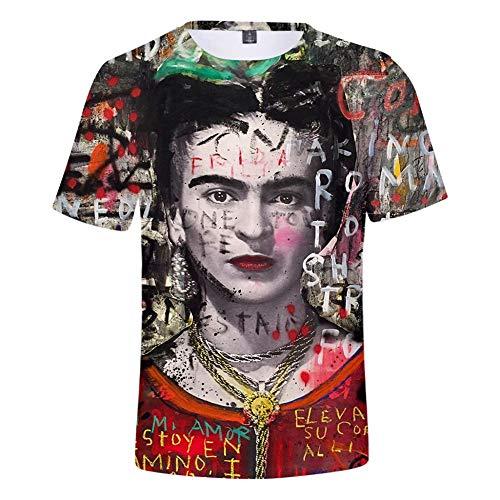 ALIDONE Frida Kahlo Artista Femenina Retrato 3D Cuello Redondo Manga Corta Camiseta para Hombres y Mujeres Design C L