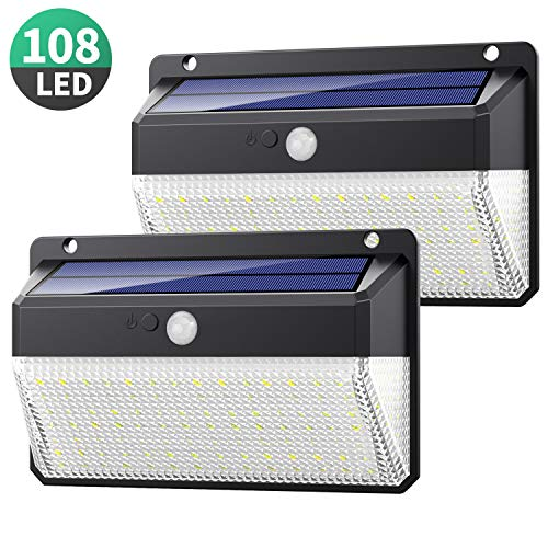 Solarlampen für Außen, Yacikos 108 LED Solarleuchte mit Bewegungsmelder [Aufgerüstet Version-2 Stück] Wasserdichte Solar Beleuchtung 270° Superhelle Solarlicht 3 Modi 2200mAh Solarleuchten für Garten