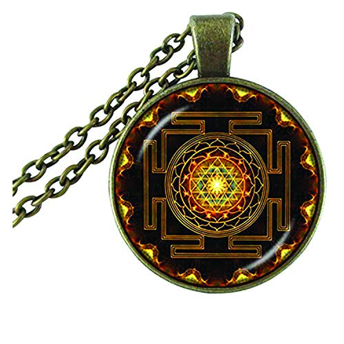 Young & Forever diwali gifts for family and friends D'vine spiritual sri yantra mandala glass dome pendant for men women stylish princess length vintage gold casual party wear necklace for boys girls fancy fashion jewlery